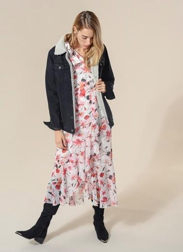 Agenda Çiçek Desenli Volanlı Elbise Ekru
